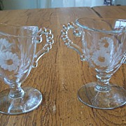 Crystal Etched Creamer And Sugar