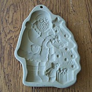 Brown Bag Cookie Art Santa With Tree Mold Christmas