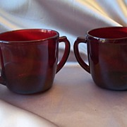 Anchor Hocking Royal Ruby Glass Sugar And Creamer