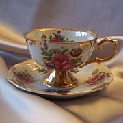 Porcelain Rose Cup And Saucer Japan