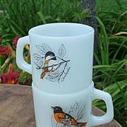 Two Anchor Hocking Birds Coffee Mugs