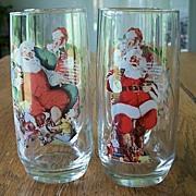 Four Christmas Santa Claus Glasses