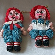 Vintage Raggedy Ann And Andy Ornaments