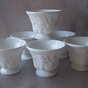 Six Indiana Milk Glass Punch Cups