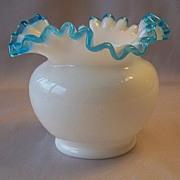Aqua Crest Ruffled Vase by Fenton