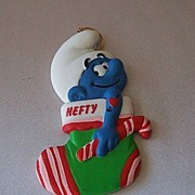 Hefty Smurf Stocking Christmas Ornament