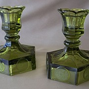Fostoria Coin Glass Olive Green Candle Holders