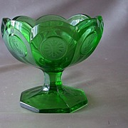 Fostoria Green Coin Glass Open Jelly Dish