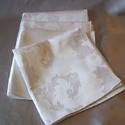 Four  White  Damask Linen Napkins