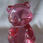 Fenton Art Glass Pink Bear Figurine