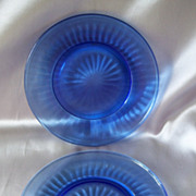 Two Hazel Atlas Blue Aurora Plates