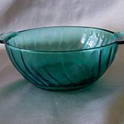 Jeannette Glass  Ultramarine Swirl Soup Lug Bowl