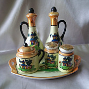 Hand Painted Japan Lusterware Cruet Set