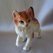 Ceramic Yellow And White Kitty Cat Figurine
