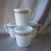 Four Woodland Pyrex Coffee  Or Tea Mugs