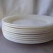 Ten Fire King Three Band Ivory Dinner Plates Rare