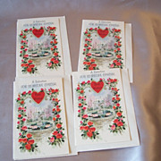 Four Vintage Valentine Card