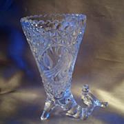 Hofbauer German Crystal Byrde Cornucopia Vase