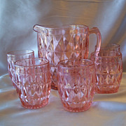 Pink Jeannette Windsor Pitcher and Five Tumbler