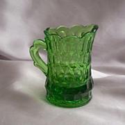 Beautiful Miniature Green Glass Pitcher