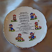 Raggedy Ann and Andy Days of Week Collector Plate