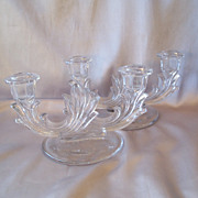Fostoria Glass Baroque Candle Holder Set
