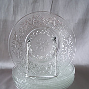 Set of Eight Hocking Glass Luncheon Plates