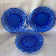 Three Hazel Atlas Blue Newport Plates