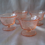 Four Federal Glass Normandie Pink Sherbets
