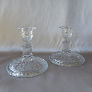 Cambridge Glass Rose Point Ram Head Candle Holders