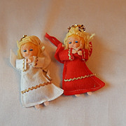 Two Christmas Tree Angel Ornaments