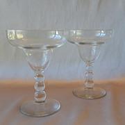 Two Crystal Ball Stem Margarita Glasses