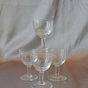 Four Tiny Crystal Liquor Glasses Goblets