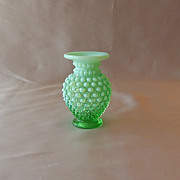 Fenton Art Glass  Green Opalescent Hobnail Vase