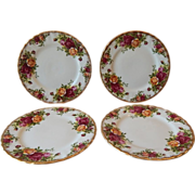 Four Royal Albert Old Country Roses Plates