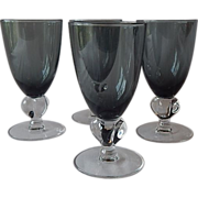 Swedish Crystal Gulli Smoke Claret Wine Goblets