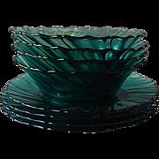 Jeannette Ultramarine Swirl Four Plates & Four Bowls