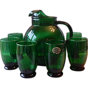 Anchor Hocking Forest Green Pitcher and Six Tumblers Set