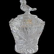 Hofbauer Crystal Byrdes  Covered Sugar Bowl