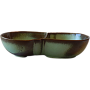 Frankoma Pottery Prairie Green Lazybone Divided Bowl