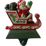 Midwest Cast Iron Santa In Sleigh Christmas Stocking Holder / Hanger
