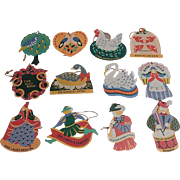 Avon Twelve Days of Christmas Ornaments Set