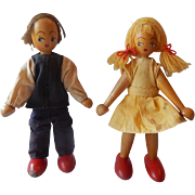 Two Dutch Dolls Made of Wood