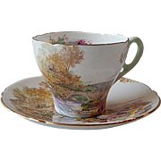 Shelley Porcelain Demitasse Heather Bridge Cup & Saucer