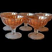 Five U.S. Glass Company Iridescent Sherbets