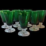 8 Fostoria Colonial Dame Emerald Green  Goblets