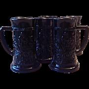 Six Tiara Exclusive Black Glass Beer Mugs