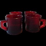 Four Ruby Red Coffee Mugs