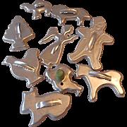 Nine Aluminum Cookie Cutters