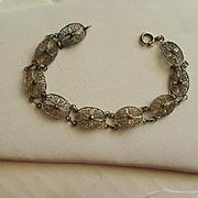 Vintage Gold Washed 800 Silver Filigree Bracelet